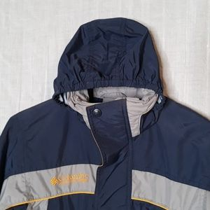 Columbia Boys 8 Windbreaker Jacket Coat Blue Hood